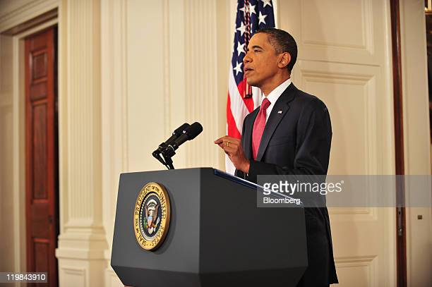 US President Barack Obama speaks during a televised address at the White House in Washington DC US on Monday July 25 2011 Obama warned that the...