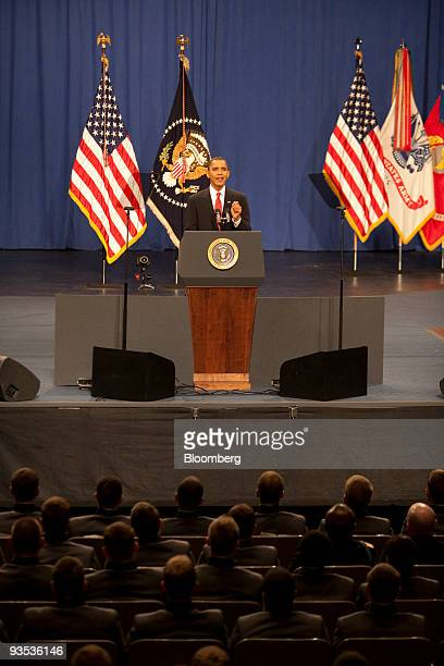 US President Barack Obama speaks during a televised event from the US Military Academy at West Point in West Point New York US on Tuesday Dec 1 2009...