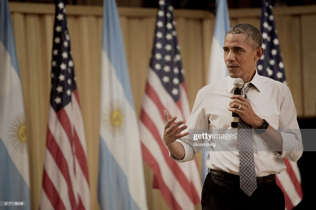 U.S. President Barack Obama speaks during a town hall event at Usina de las Artes in Buenos Aires, Argentina, on Wednesday, March 23, 2016. Obama became the first U.S. president to visit Argentina in more than a decade as his counterpart, Mauricio Macri, seeks a rapprochement with the international community following a decade of financial and diplomatic isolation. Photographer: Diego Levy/Bloomberg via Getty Images