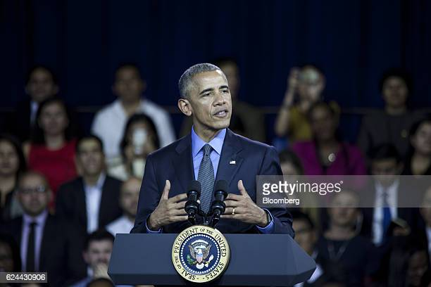 US President Barack Obama speaks during a town hall meeting at the Pontifical Catholic University in Lima Peru on Saturday Nov 19 2016 Obama says he...