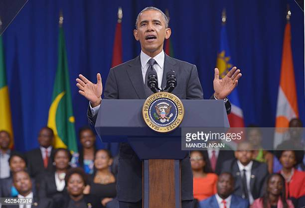 US President Barack Obama speaks during a town hall meeting at the Summit of the Washington Fellowship for the Young African Leaders Initiative in...