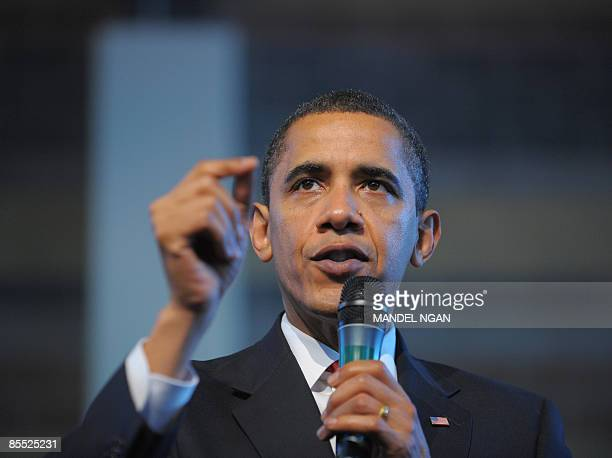 President Barack Obama speaks during a town hall meeting March 19, 2009 at the Miguel Contreras Learning Complex 2009 in Los Angeles. AFP...