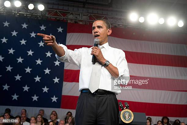President Barack Obama speaks during a town hall meeting on healthcare at Shaker Heights High School in Shaker Heights, Ohio, outside of Cleveland,...