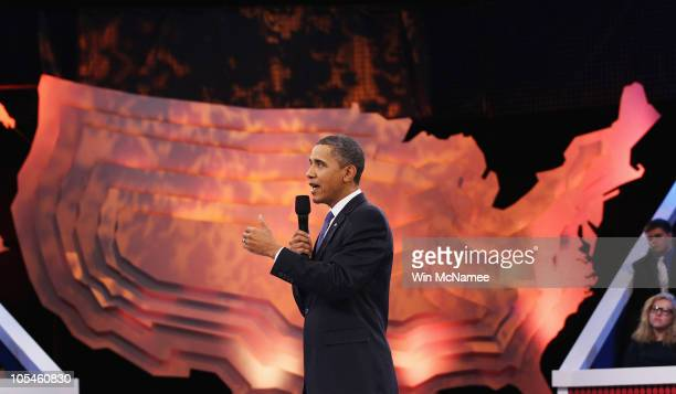 S President Barack Obama speaks during a Town Hall on Viacom�s BET CMT and MTV networks October 14 2010 in Washington DC Obama appeared before...