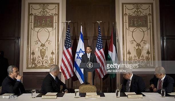 President Barack Obama speaks during a trilateral meeting with Israeli Prime Minister Benjamin Netanyahu , Israeli Defense Minister Ehud Barak ,...
