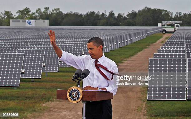 S President Barack Obama speaks during a visit to the DeSoto Next Generation Solar Energy Center October 27 2009 in Arcadia Florida Obama announced...