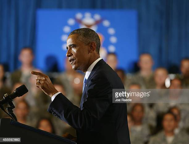 President Barack Obama speaks during a visit to the U.S. Central Command at the MacDill Air Force Base on September 17, 2014 in Tampa, Florida. Obama...