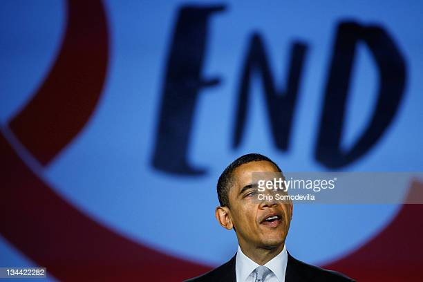 S President Barack Obama speaks during a World AIDS Day event at the Jack Morton Auditorium on the campus of George Washington University December 1...