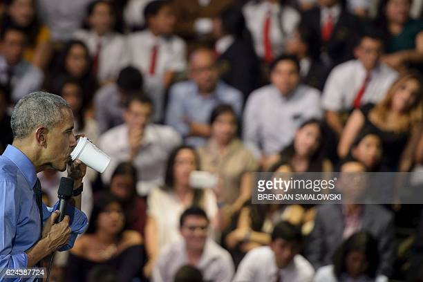 US President Barack Obama speaks during a Young Leaders of the Americas Initiative town hall meeting at the Pontifical Catholic University of Peru...