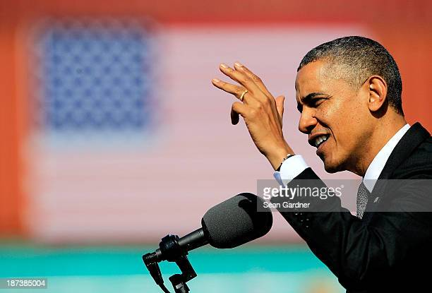 President Barack Obama speaks during an Economic Address at The Port Of New Orleans on November 8 2013 in New Orleans Louisiana Obama is pushing for...