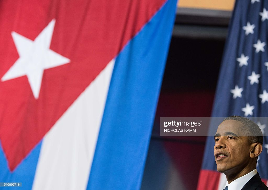US President Barack Obama speaks during an entrepreneurship panel discussion in Havana on March 21, 2016. Obama and his Cuban counterpart Raul Castro vowed Monday in Havana to set aside their differences in pursuit of what the US president called a 'new day' for the long bitterly divided neighbors. AFP PHOTO/Nicholas KAMM / AFP / NICHOLAS