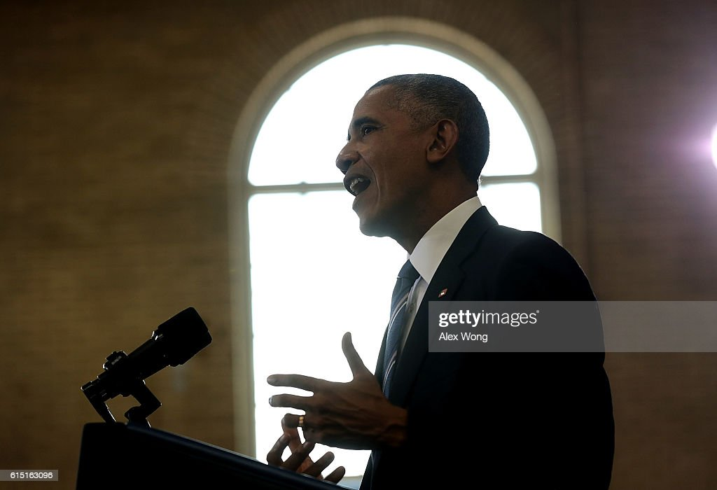 U.S. President Barack Obama speaks during an event at Benjamin Banneker Academic High School on October 17, 2016 in Washington, DC. President Obama delivered remarks to highlight the progress he has made to improve education across the country including a rise in high school graduation rates.