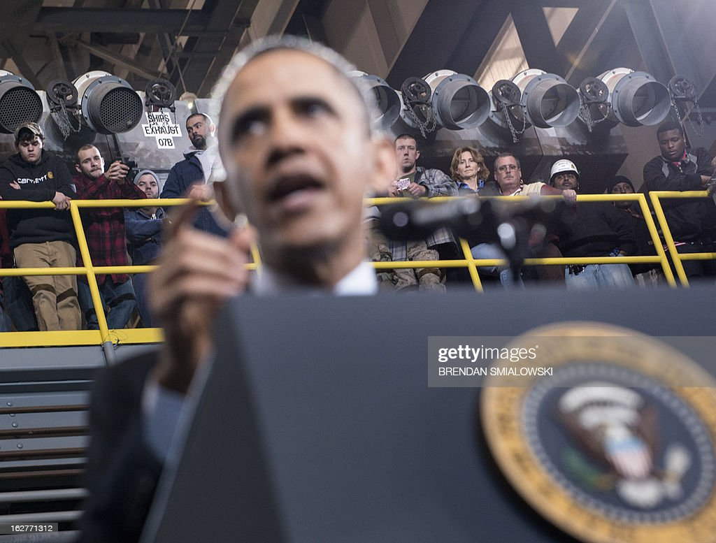 US President Barack Obama speaks during an event at Newport News Shipbuilding February 26, 2013 in Newport News, Virginia. Obama painted a devastating picture of looming government budget cuts, at a fabled shipbuilding yard in Virginia that provides the US Navy's nuclear powered aircraft carriers. The trip will intensify the president's effort to hike pressure on Republicans to agree on tax increases to avert $85 billion in automatic spending cuts this year, which experts warn could stagger the fragile economy. The White House said the cuts, known as 'the sequester' which are due to hit on March 1, would see 90,000 civilian defense workers furloughed in Virginia alone and would hurt companies in 50 states that supply shipbuilders. AFP PHOTO/Brendan SMIALOWSKI