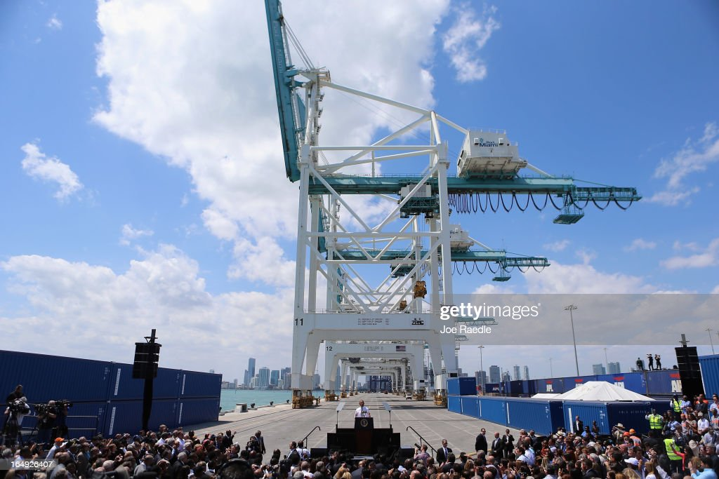 President Barack Obama speaks during an event at PortMiami on March 29, 2013 in Miami, Florida. The president spoke about road and bridge construction during the event at the port in Miami, where he also toured a new tunnel project.