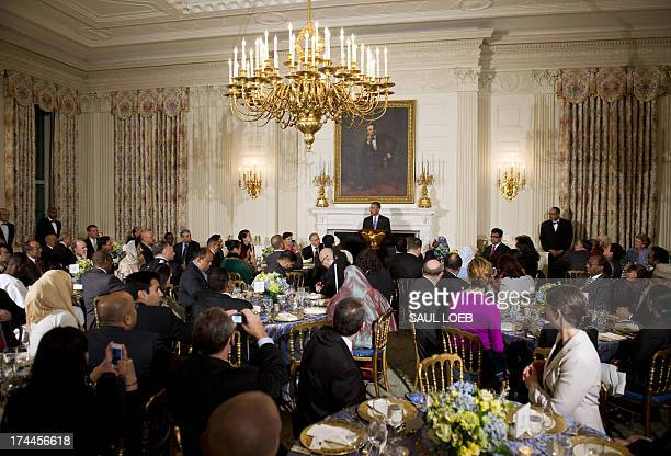 US President Barack Obama speaks during an Iftar dinner celebrating Ramadan in the State Dining Roomof the White House in Washington DC July 25 2013...