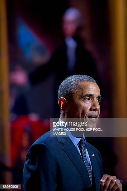 """President Barack Obama speaks during an """"In Performance at the White House"""" event in the East Room of the White House in Washington, D.C, U.S., on..."""