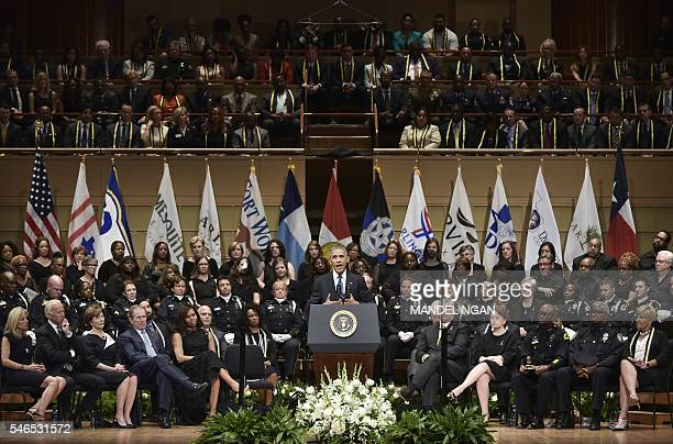 US President Barack Obama speaks during an interfaith memorial service for the victims of the Dallas police shooting at the Morton H Meyerson...