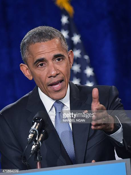US President Barack Obama speaks during an Organizing for Action Summit on April 23 2015 at a hotel in Washington DC AFP PHOTO/MANDEL NGAN