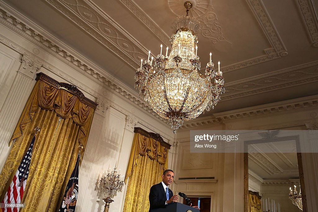 U.S. President Barack Obama speaks during his final news conference of his first term at the East Room of the White House January 14, 2013 in Washington, DC. Obama spoke on the debt ceiling and deficit reduction during the news conference.
