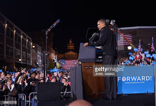 US President Barack Obama speaks during his last campaign rally in Des Moines Iowa on November 5 2012 After a grueling 18month battle the final US...