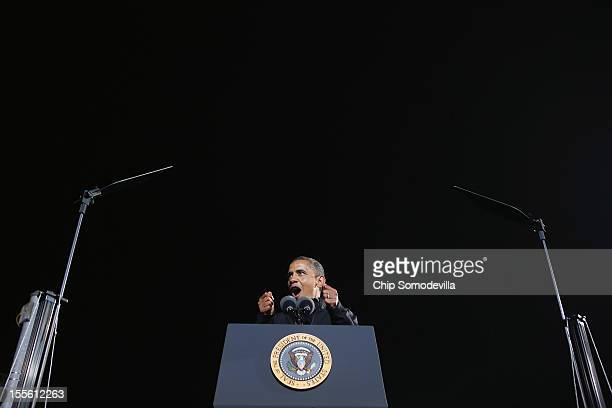 S President Barack Obama speaks during his last rally the night before the general election November 5 2012 in Des Moines Iowa The rally was held...