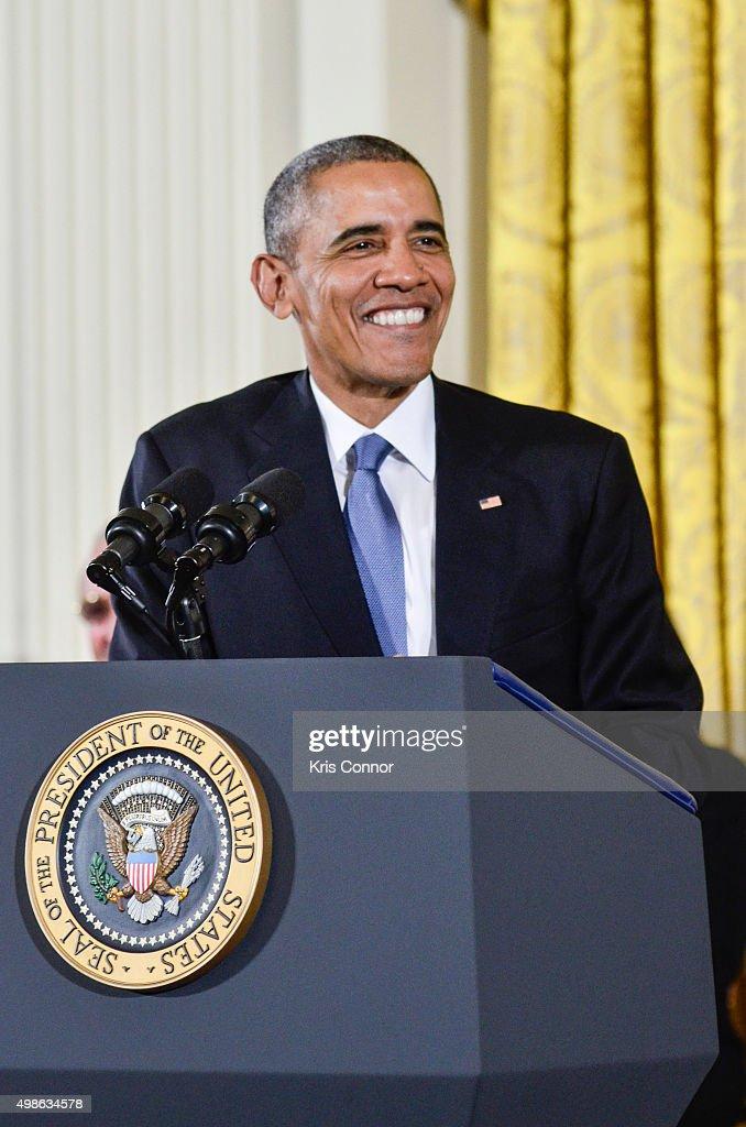 President Barack Obama speaks during the 2015 Presidential Medal Of Freedom Ceremony at the White House on November 24, 2015 in Washington, DC.