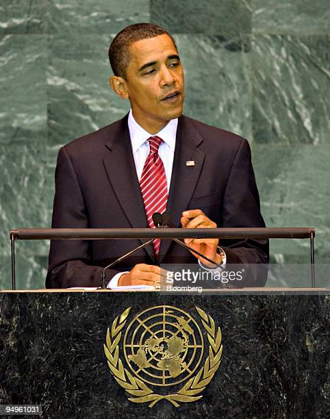 S President Barack Obama speaks during the 64th annual United Nations General Assembly in New York US on Wednesday Sept 23 2009 The General Debate...