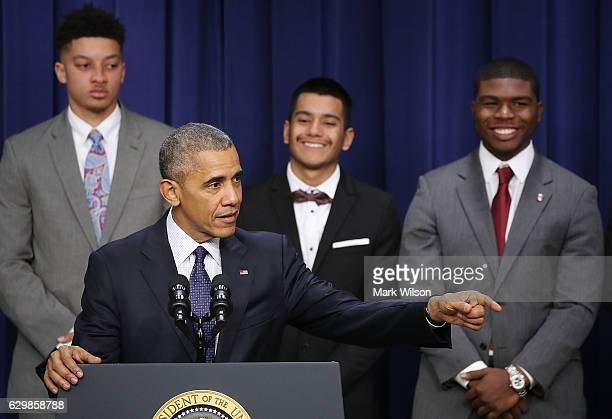 President Barack Obama speaks during the annual My Brother's Keeper event at the White House December 14 2016 in Washington DC President Obama...