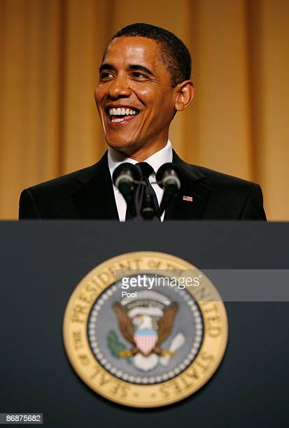 President Barack Obama speaks during the annual White House Correspondents' Association gala dinner May 9 2009 at the Washington Hilton Hotel...