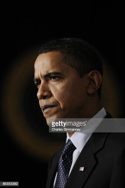 President Barack Obama speaks during the closing of the Fiscal Responsibility Summit on February 23, 2009 in the Eisenhower Executive Office Building...