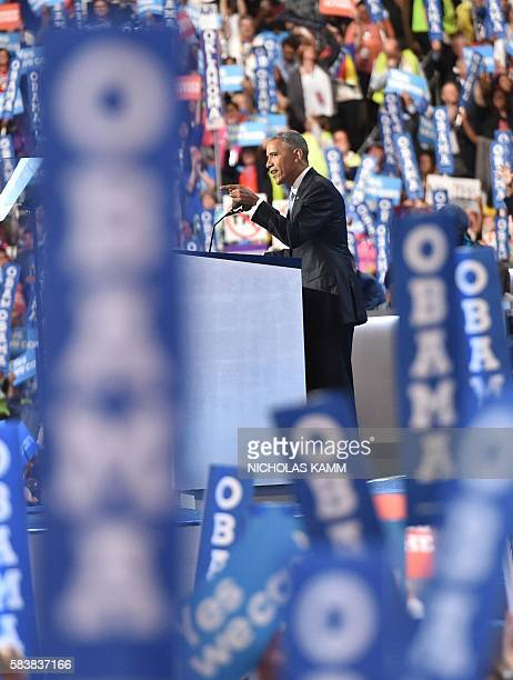President Barack Obama speaks during the Democratic National Convention at the Wells Fargo Center in Philadelphia, Pennsylvania, July 27, 2016. / AFP...