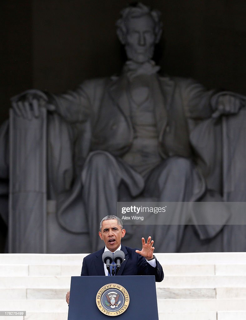 U.S. President Barack Obama speaks during the Let Freedom Ring ceremony on the steps of the Lincoln Memorial August 28, 2013 in Washington, DC. The event was to commemorate the 50th anniversary of Dr. Martin Luther King Jr.'s 'I Have a Dream' speech and the March on Washington for Jobs and Freedom.