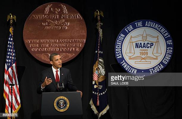 US President Barack Obama speaks during the NAACP 100th Anniversary convention in New York July 16 2009 AFP PHOTO / Saul LOEB