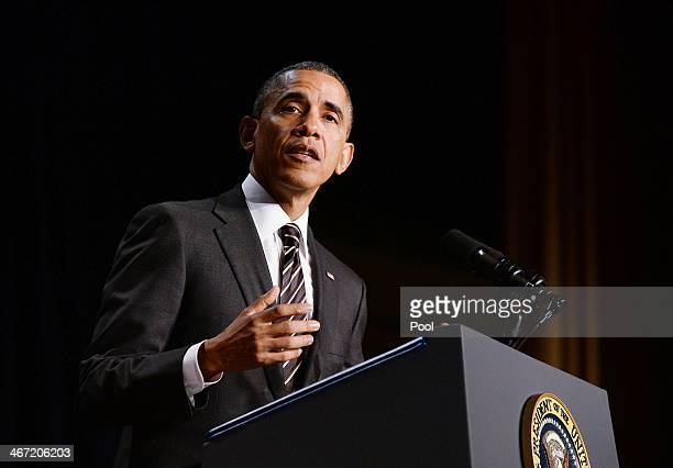 S President Barack Obama speaks during the National Prayer Breakfast at the Washington Hilton February 6 2014 in Washington DC During Obama's sixth...