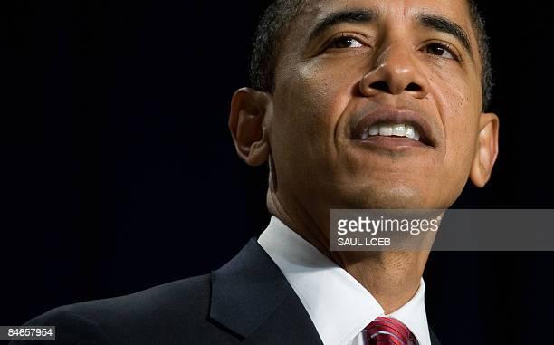 US President Barack Obama speaks during the National Prayer Breakfast at the Washington Hilton in Washington DC February 5 2009 Obama warned Thursday...