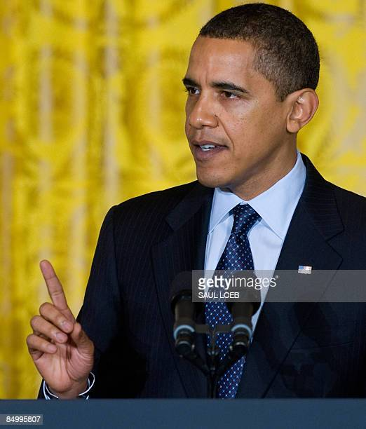 US President Barack Obama speaks during the opening of the Fiscal Responsibility Summit in the East Room of the White House in Washington DC February...