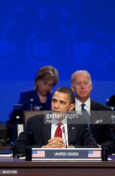 S President Barack Obama speaks during the opening plenary session as and US Vice President Joseph Biden and US Secretary of State Hillary Clinton...