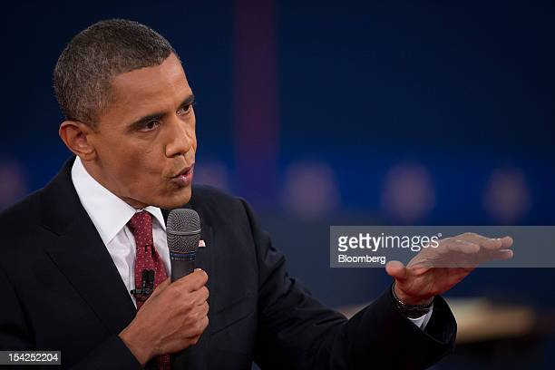 US President Barack Obama speaks during the second presidential debate at Hofstra University in Hempstead New York US on Tuesday Oct 16 2012 Obama...