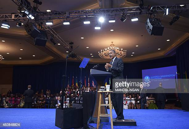 US President Barack Obama speaks during the Summit of the Washington Fellowship for Young African Leaders in the East Room of the White House on July...
