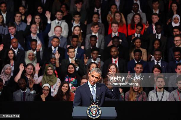 President Barack Obama speaks during the 'Town Hall' discussion with British youth at the Royal Horticultural Halls on April 23, 2016 in London,...