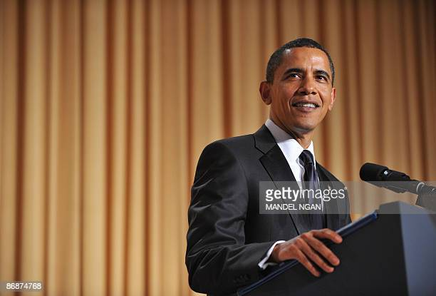 US President Barack Obama speaks during the White House Correspondents� Association annual dinner on May 9 2009 at the Washington Hilton hotel in...