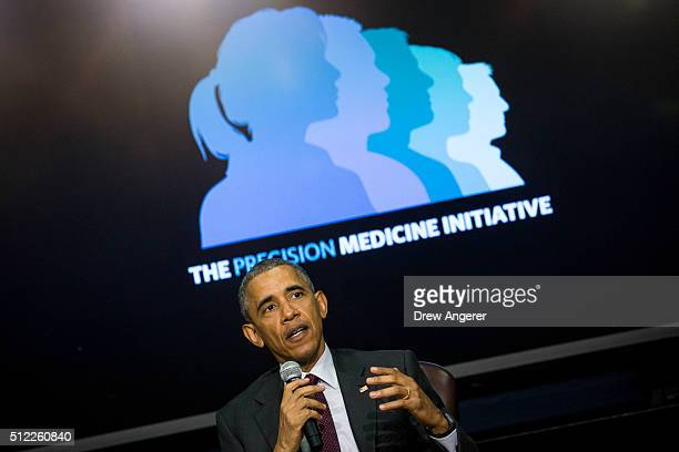 S President Barack Obama speaks during the White House Precision Medicine Initiative Summit in the South Court Auditorium in the Eisenhower Executive...