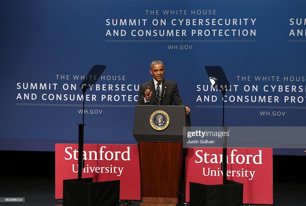 President Obama Speaks At Summit On Cybersecurity And Consumer Protection At Stanford University : News Photo