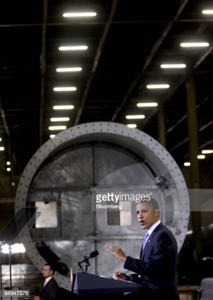 S President Barack Obama speaks following a tour of the Trinity Structural Towers plant in Newton Iowa US on Wednesday April 22 2009 The facility...