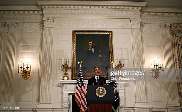 President Barack Obama speaks from the State Dining Room following a meeting with executive from BP at the White House June 16, 2010 in Washington,...