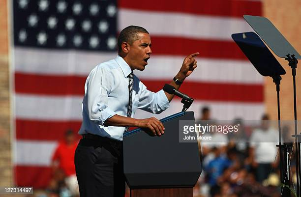 S President Barack Obama speaks in favor of his $447 billion jobs plan while addressing Coloradans in front of Abraham Lincoln High School on...
