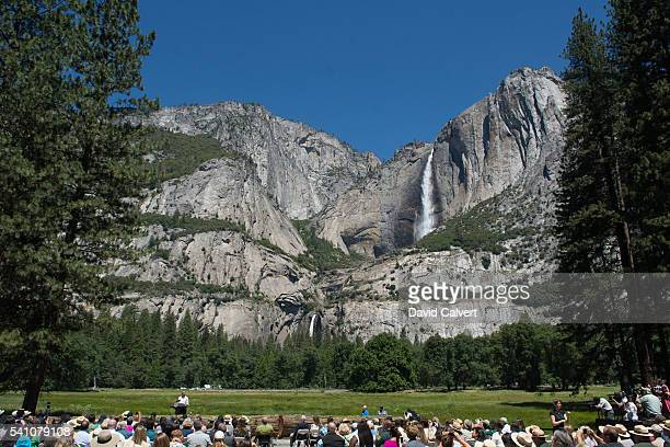 President Barack Obama speaks in front of Cook's Meadow and Yosemite Falls on June 18 2016 in Yosemite National Park California Obama is marking the...