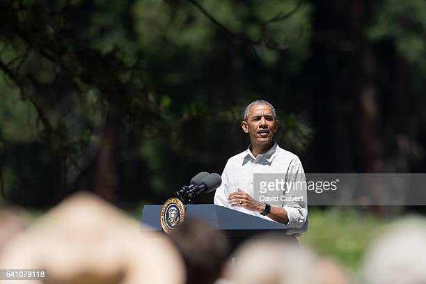 President Barack Obama speaks in front of Cook's Meadow on June 18 2016 in Yosemite National Park California Obama is marking the centennial of the...