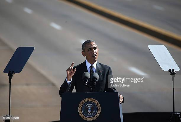 President Barack Obama speaks in front of the Edmund Pettus Bridge on March 7, 2015 in Selma, Alabama. Selma is commemorating the 50th anniversary of...