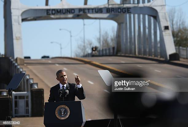 S president Barack Obama speaks in front of the Edmund Pettus Bridge on March 7 2015 in Selma Alabama Selma is commemorating the 50th anniversary of...